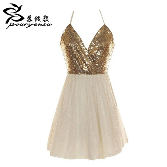 2016 Hot Sale High Quality Sweetheart Gold Sequins Short Bridesmaid ...