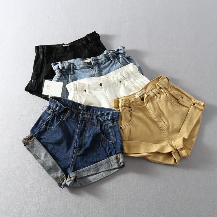 2019 Summer New Europe Blue Crimping Denim Shorts For Women Brand Trendy Wide Leg Shorts Jeans Casual Womens High Waist Shorts