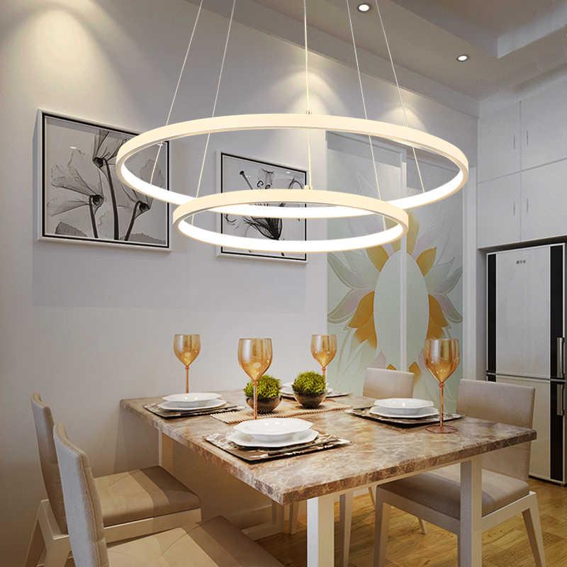 Lustre moderne LED 3 anneaux rond plafond type LED lustre salon salle à  manger cuisine éclairage blanc circulaire lustre
