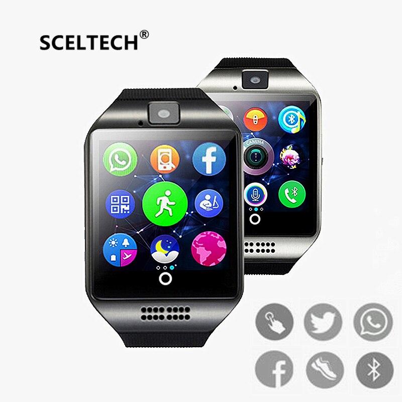 Sceltech Smart reloj Q18 digital muñeca con hombres electrónica Bluetooth tarjeta SIM Sport smartwatch cámara para iphone android teléfono