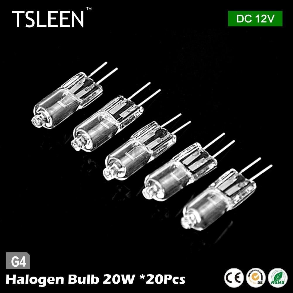 tsleen 20pieces 20 watt tungsten halogen 12v g4 base clear lamp light bulb 20w bi pin in halogen. Black Bedroom Furniture Sets. Home Design Ideas
