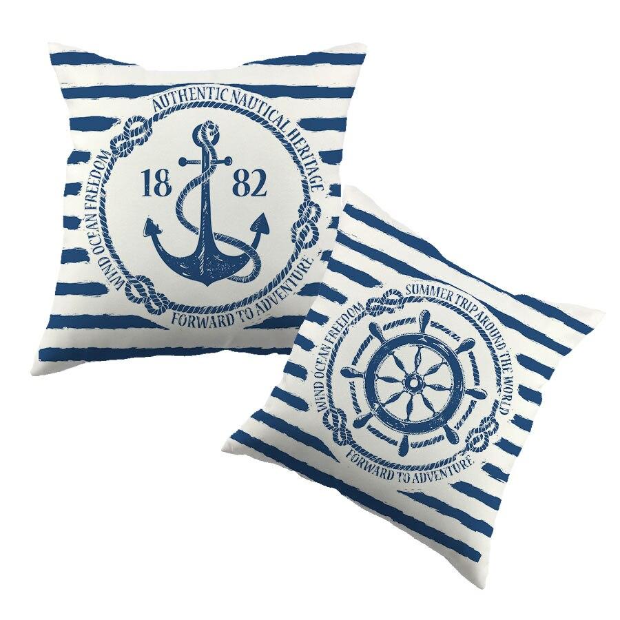 Sea Blue Helm Printed Cushion Cover Anchor Pattern Marine Cotton Throw Pillow Case New Year Decorative Pillowcase