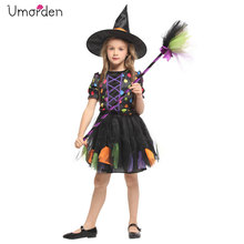 Umorden New Arrival Halloween Costumes for Girl Rainbow Witch Costume Cosplay Party Carnival Fantasia Dress