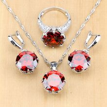 Dark Red Cubic Zirconia White CZ 925  Silver Jewelry Sets Women Earrings/Pendant/Necklace/Ring jewelrypalace cubic zirconia cz sun compass pendant necklace without chain 925 sterling silver pendant fashion jewelry making