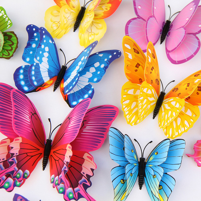 12Pcs Mixed color Double layer Butterfly 3D Wall Sticker for wedding decoration Magnet Butterflies Fridge stickers Home decor 6