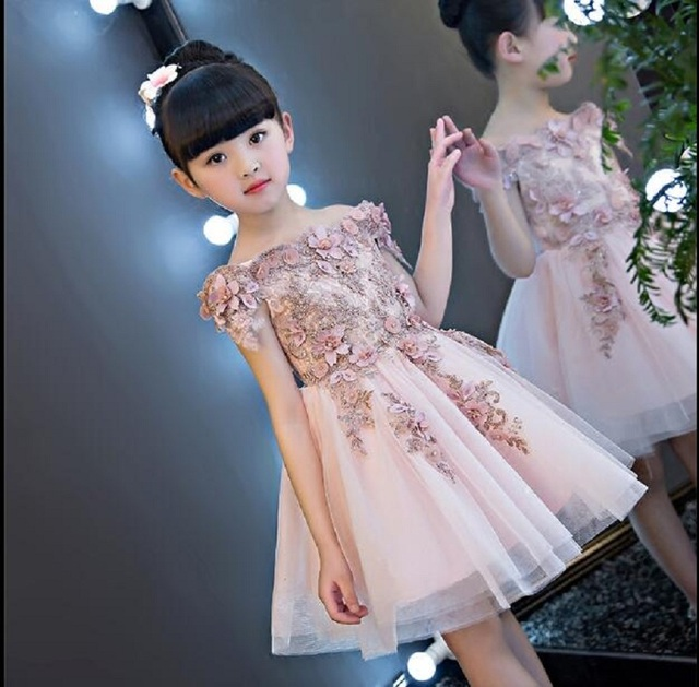 42ce7fe02 Little girl party dress ball gowns for children girls pageant gown dresses  bridesmaid formal clothing kids pink princess clothes