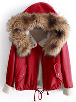 Women Fleece Lined Jacket With Faux Fur Trim Hooded Coat Fashion Long Sleeve Pocket Patched Hooded