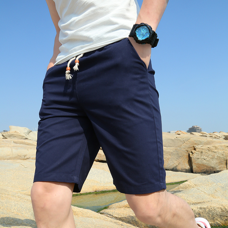Brand Men Shorts Knee Length Cotton Shorts Elastic Waist Male Short Outwear Shorts Casual Homme Men Big Size 5XL Solid Masculino