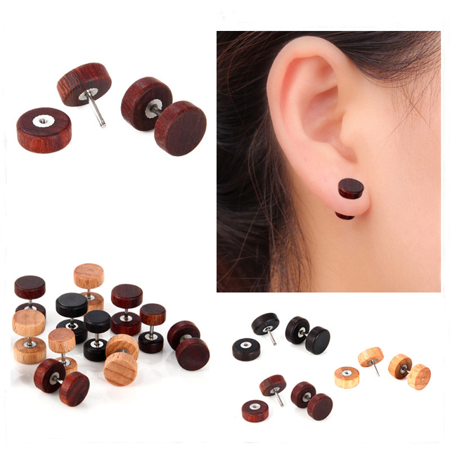 5ff61d74e Alisouy 1 Pair Natural Wood Fake Body Jewelry Ear pierces Plugs Earrings  Studs Natural Organic Retro Fake Cheater studs plugs