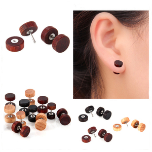 Alisouy 1 Pair Natural Wood Fake Body Jewelry Ear pierces Plugs Earrings Studs Natural Organic Retro Fake Cheater studs plugs(China)