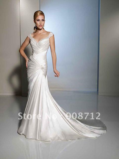 2013 Style Slim Cap Sleeve Mermaid Designer Wedding Gowns With