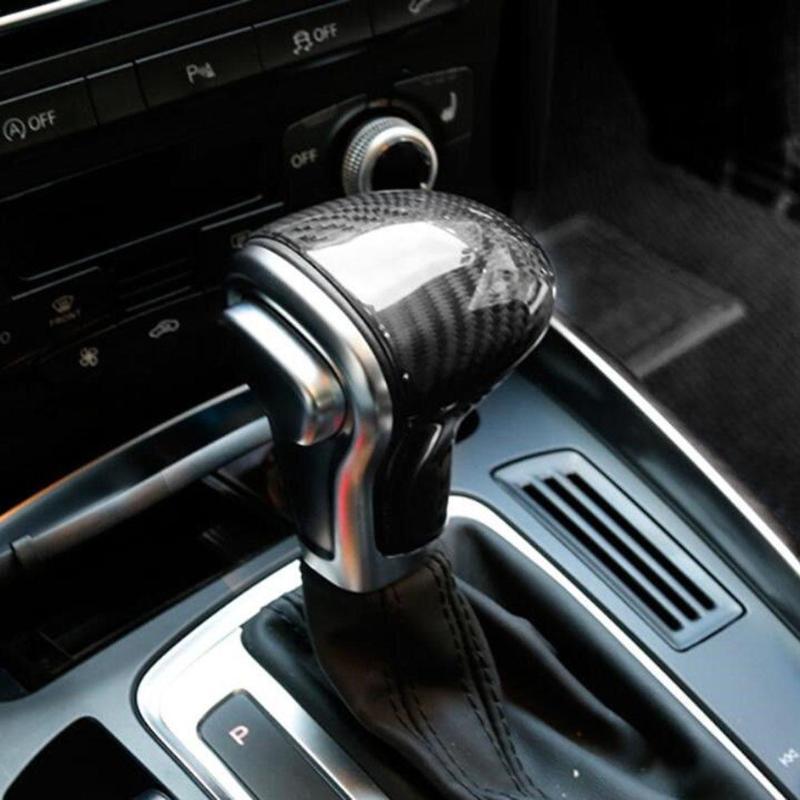 VODOOL Carbon Fiber Car Gear Shift Knob Head Covers Auto Shift Knob Cover Case Trim Car Styling Sticker For AUDI A4 B8 Q5 S6 AT carbon fiber for audi a4 b9 sedan avant allroad quattro 2016 2017 transmission shift gear panel molding garnish cover trim