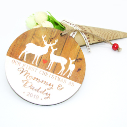 Elk New Mommy and Daddy First Christmas Pendant Wooden Christmas Tree Ornament Christmas Decorations for Home Xmas Supplies 2