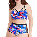 3xl 4xl 5xl plus size women clothing big bust women bikini high waist swimwear floral print tie dye mesh cut out bathing suit