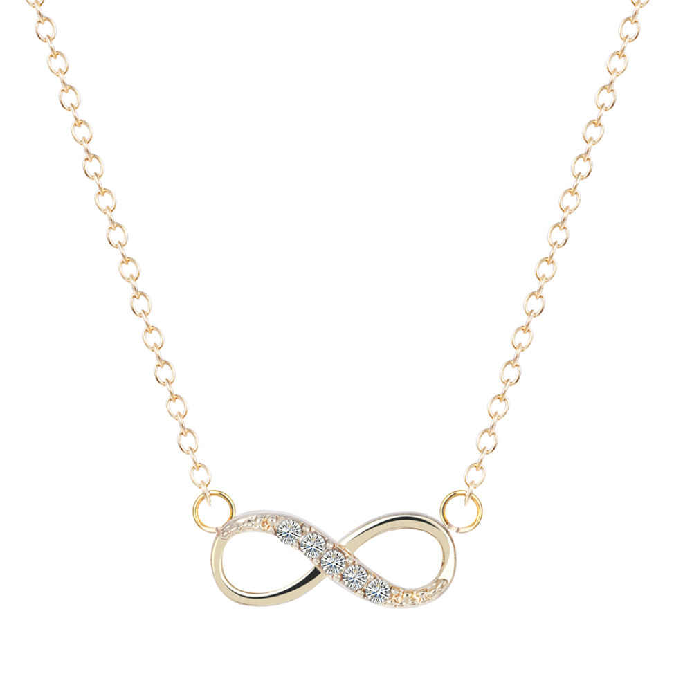 Cxwind Tiny Infinity Pendant Necklace with Zircon Infinity Love Promise Symbol Charm for Women chain Best Necklaces collares