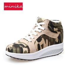 Zapatos de oscilación de las mujeres de camuflaje High-top Lacing 4.5CM Wesge Toning Shoes Cómodo pérdida de peso que adelgaza las zapatillas de deporte para las mujeres