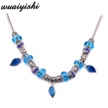 The latest gift necklace female new pendant fashion silver blue leaves chain charm retro hot beaded simple 2019