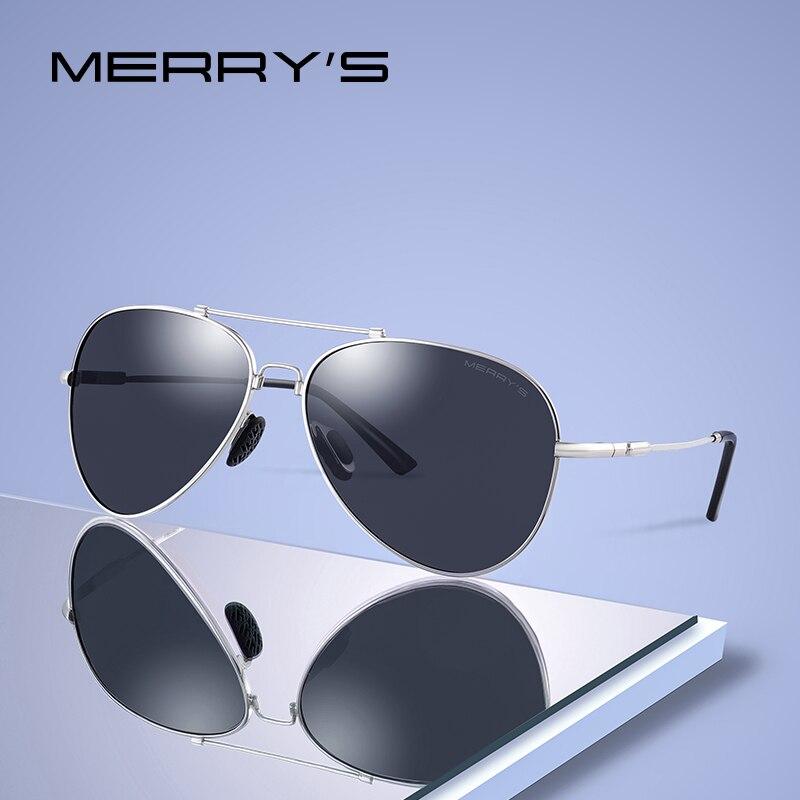 MERRYS DESIGN Men Classic Pilot Sunglasses HD Polarized Sun glasses Titanium Memory Alloy Bridge UV400 Protection S8127