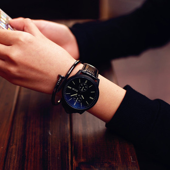 Blue Glass Mirror big dial watch for men simple quartz watch