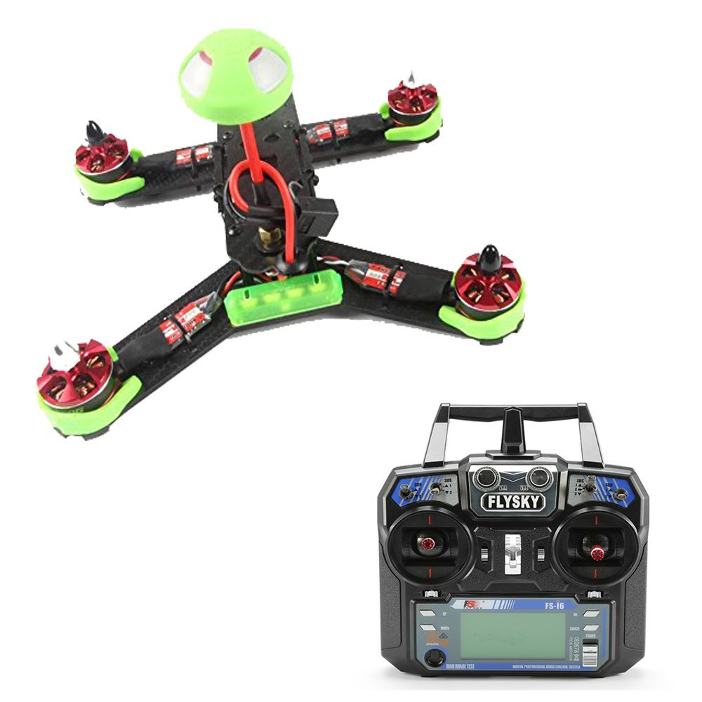 F18217 210GT 210mm Mini Quadcopter FPV Racing Drone RTF Combo Full Set with SP F3 Flight Control FS-I6 Remote - Green drone with camera rc plane qav 250 carbon frame f3 flight controller emax rs2205 2300kv motor fiber mini quadcopter