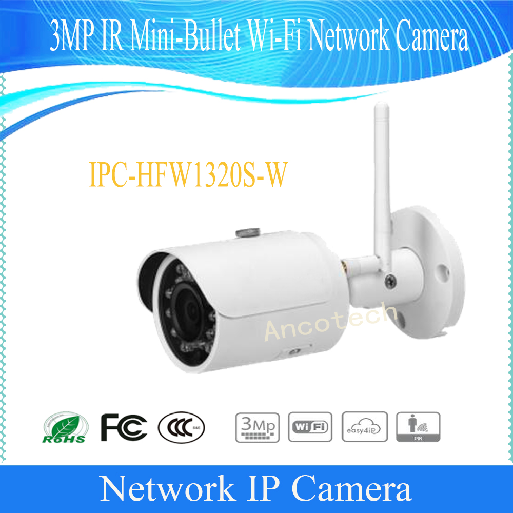 Free Shipping DAHUA IP WIFI Camera CCTV 3MP WIFI Small Fixed IR Bullet IP Camera IP67 Without Logo IPC-HFW1320S-W free shipping dahua cctv camera 4k 8mp wdr ir mini bullet network camera ip67 with poe without logo ipc hfw4831e se