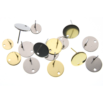 20pcs Stainless Steel Blank Post Earring Studs Pins Steel Gold Color Flat Round Tray Base for Earring Jewelry Findings 8 10 12mm 10pcs stainless steel ball studs earring pins post gold rhodium color ear stud with loop for diy accessories jewelry making z866
