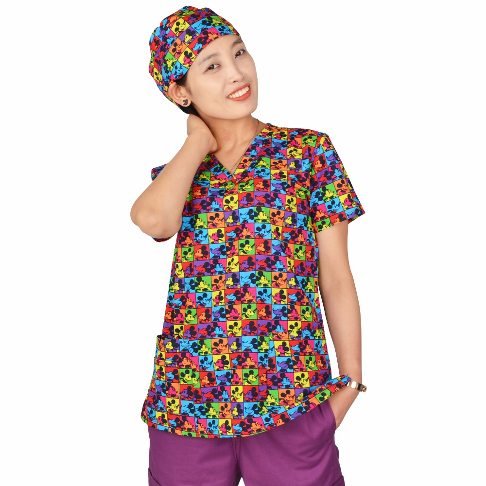 Hennar Women Scrub Top 100% Print Cotton Medical Uniforms V-Neck Short Sleeve XXS-3XL Hospital Clinical Surgical Scrubs Top