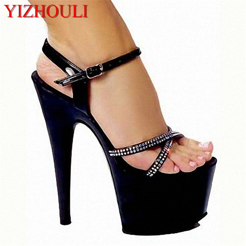 Fashion set summer sandals black high heel sandals in Europe and the star super high heels 15cmFashion set summer sandals black high heel sandals in Europe and the star super high heels 15cm