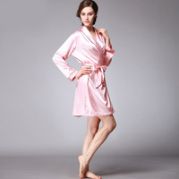 Autumn Women Solid Color Sexy Nightgown Long Sleeve