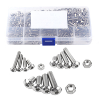 440pcs Mayitr M3 M4 M5 Hex Socket Screws Nuts Stainless Steel Button Head Bolts Assortment Kit