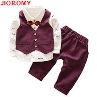 2017 Boy Gentleman Set Vest T Shirt Pants 3pcs Set Fashion Kids Bowknot Bearded Long Sleeve
