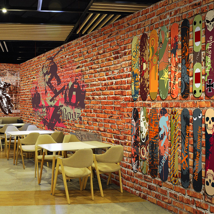 Custom Photo Wallpaper Graffiti Art 3d Red Brick Wall Pattern Nostalgic Street Style Lobby In Wallpapers From Home