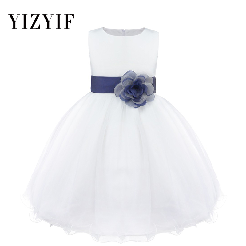 YiZYiF Kids Toddler   Girl     dresses   Navy Blue   Flower     Girls     Dress   Formal   girl   summer   dress   for party and wedding   girls     dress   2019