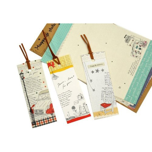 Cute Cartoon Lazy Stationery + 3Pcs x Bookmarks Set Random Color