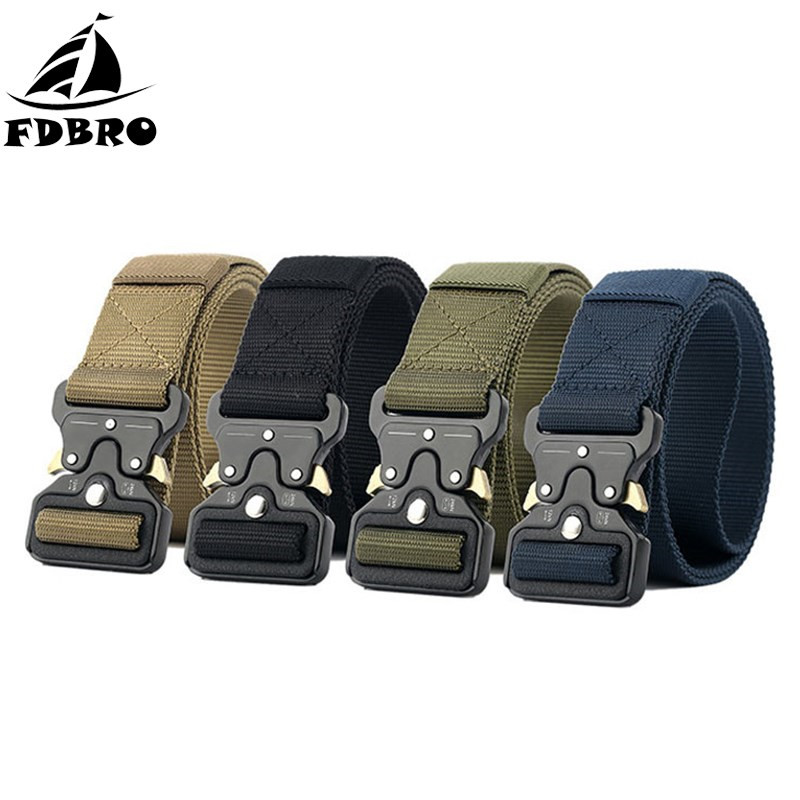 FDBRO Army Tactical Belt Metal Buckle Nylon Belt Tactic Hunting Camping Military Equipment Training Waist Straps Combat Belts multifunction tactical belt men s military belts 125cm length 3 8cm width army fans outdoor training nylon belt with buckle