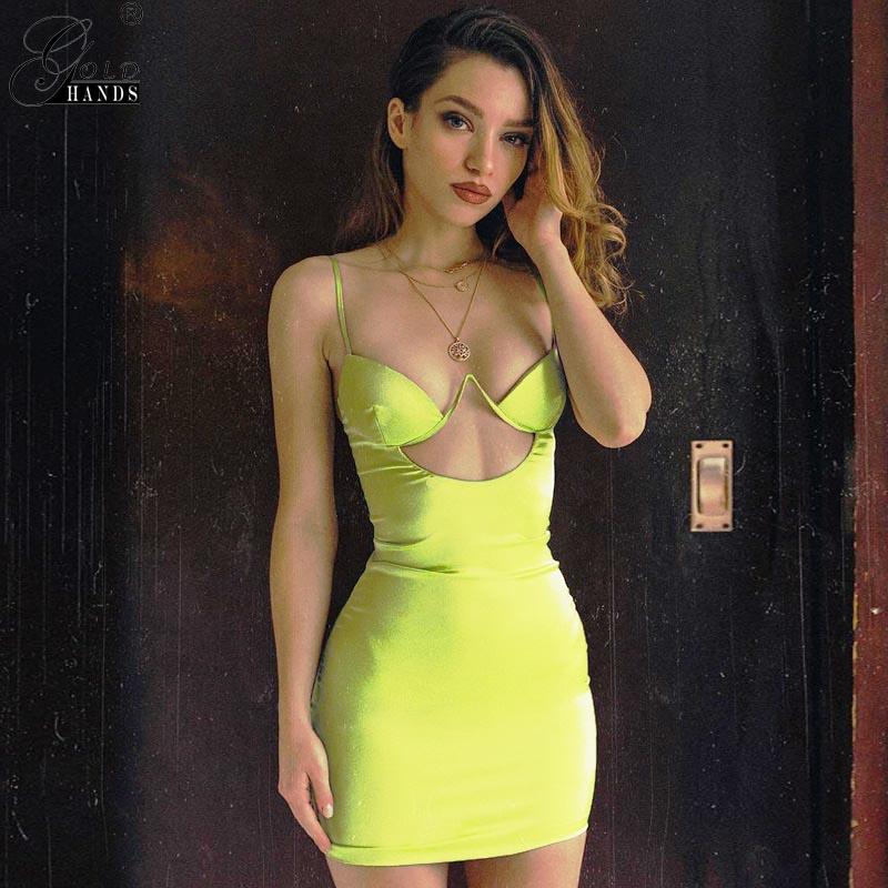 Gold Hands Spaghetti Straps Satin Sexy Dress Sleeveless V Neck Hollow Out Bandage Beach Spring Summer Dress Casual Party Dress