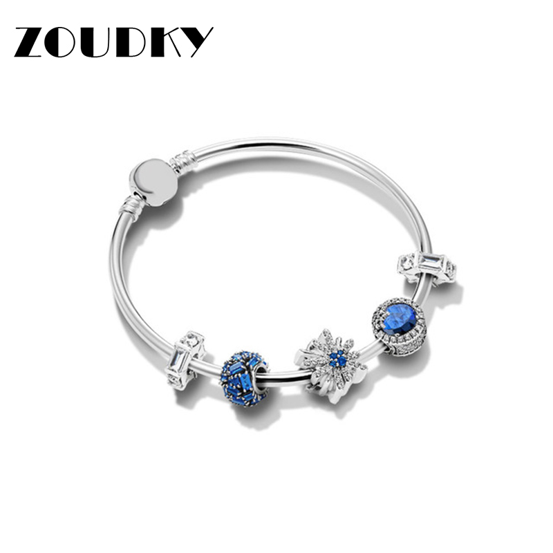 ZOUDKY 100% 925 Sterling Silver Dazzling Fireworks Bracelet Set Fit DIY Bangle Original  Woman Fashion Jewelry Children's Gift