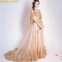 Золотой кружевное элегантное фотография вечерние платья для беременных Для женщин мягкий тюль Длинные Арабский настоящая фотография для б