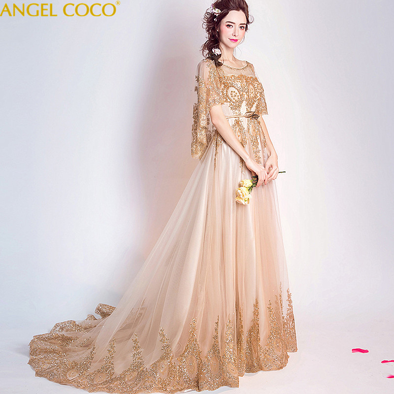 9f7808a8c656e Golden Lace Elegant Photograph Evening Dresses For Pregnant Women Soft  Tulle Long Arabic Real Photo Maternity