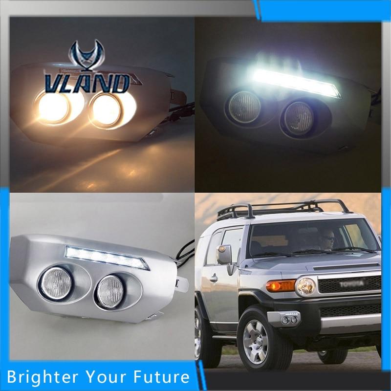 VLAN LED Daylight For Toyota FJ Cruiser 2007-2014 White LED Daytime Running Lights DRL Front Fog Lamp high quality lyc for jeep wrangler yj fog lights daylight running overhead fog lights for toyota nissan lights 30w 3000k 6000k