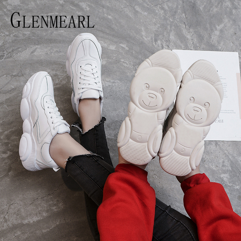 Genuine Leather Women Sneakers White Shoes Platform Bear Woman Casual Shoes Flats Brand Spring Autumn Female Running Shoes Warm 1