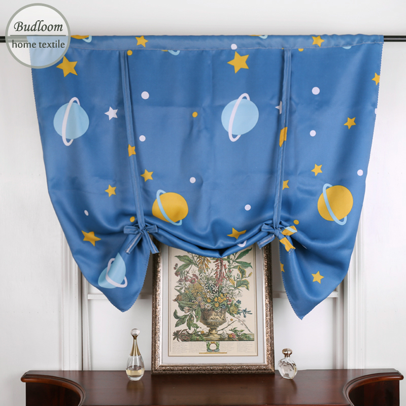 Blue Star Planet Blackout Short Curtains For Kitchen Cartoon Roman Curtains For Kids Room Small Window Decoration Single Panel