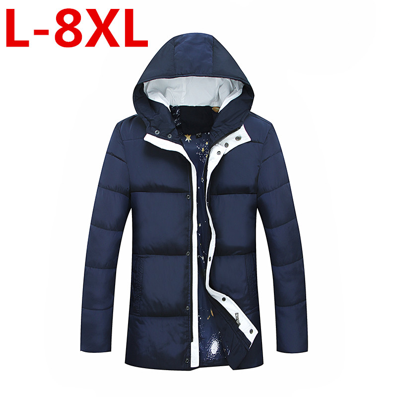 plus size 8XL Winter Jacket Men Hat Warm Coat Cotton-Padded Outwear Mens Coats Jackets Hooded Collar Slim Clothes Thick Parkas winter jacket men thick warm hooded winter coat cotton padded jackets fashion young mens slim fit outwear parka hombre