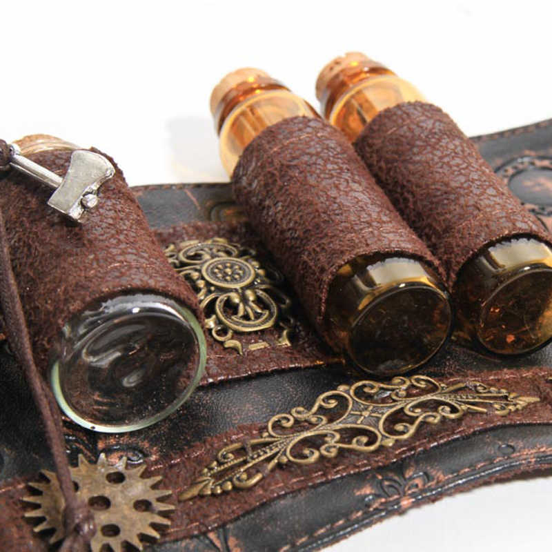 Steampunk Wrist Band With Vial Bottles Brown PU Leather Wrist Strap Band