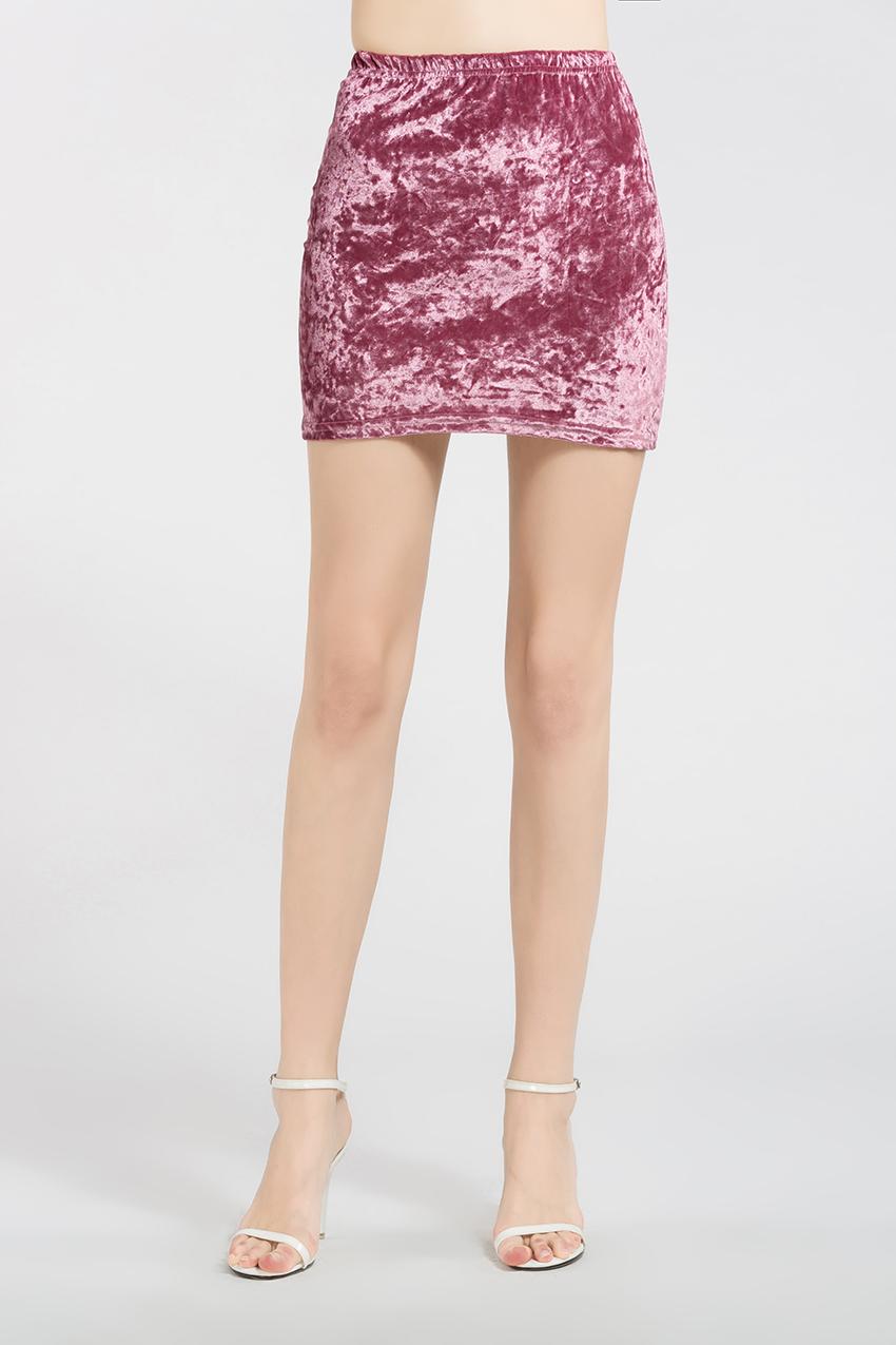 HTB1tWObRXXXXXc6XVXXq6xXFXXXd - FREE SHIPPING !!!! Velvet Skirt Women Autumn Black Pink Elastic High Waist Female JKP324
