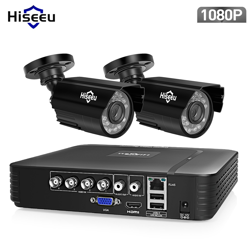 Hiseeu AHD Security Camera System 1080P Video Surveillance 4CH 5 in 1 DVR Infrared CCTV System Waterproof E-mail Alert XMeye e mail e mail