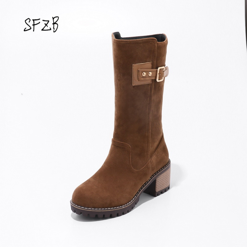 SFZB Women mid-calf Boots Design Fashion Square High Heel Round Toe All Match Ladies Motorcycle Boots Size 34-43