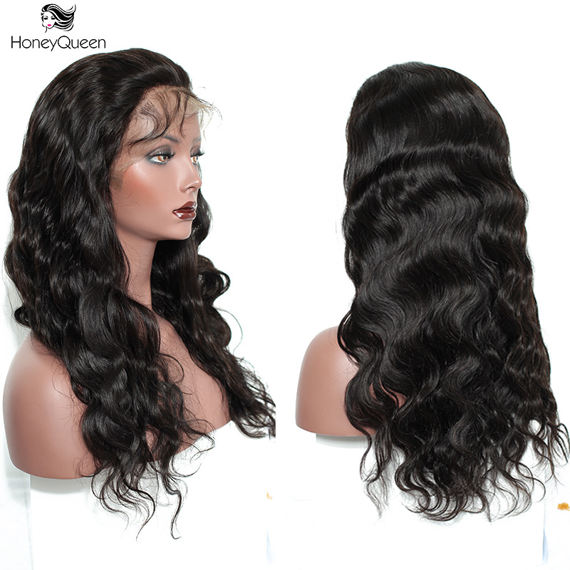 250% Density Lace Front Human Hair Wigs For Women Black Color Pre Plucked Brazilian Lace Frontal Wig Body Wave Remy Honey Queen