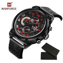 Famous Brand Naviforce Reloj Hombres Reloj Deportivo Relogio masculino Moda de Lujo del Cuero Genuino Impermeable Reloj de Los Hombres LX50