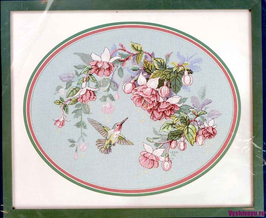 Hummingbird And Flowers Cross Stitch Card Kit